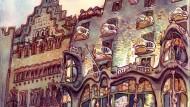 La casa Batllò dibuixada per Sagar al llibre 'Barcelona. Carnet de Viatge'.