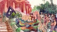El park Güell dibuixat per Sagar al llibre 'Barcelona. Carnet de Voyage'