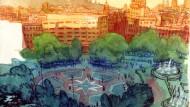 La plaça Catalunya dibuixat per Sagar al llibre 'Barcelona.