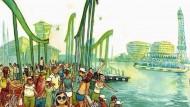 El port de Barcelona. Dibuix de Sagar