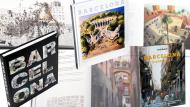 Cobertes dels llibres 'Barcelona. Ciutat de l'amistat', 'Pinzellades de Barcelona' i 'Barcelona. Ciutat Vella.