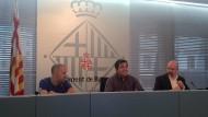 Pisarello, Eloi Badia i Jordi Ayala, a la presentació de Guies de contratació pública