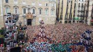 Mercè. Jornada castellera amb les colles locals. A la imatge, castellers de Sants, Castellers de Barcelona i Castellers de la Vila de Gràcia.