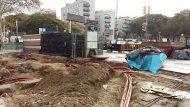 Obres de millora a l'accés de l'estació de metro Barceloneta