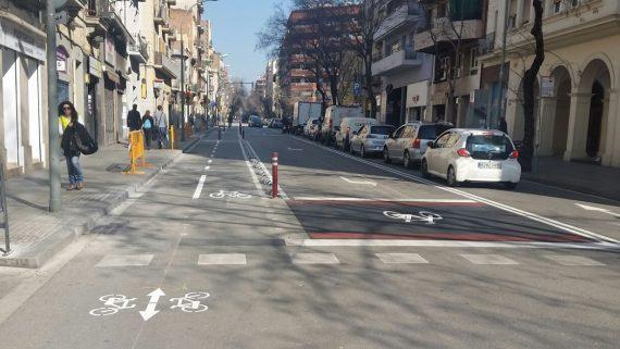 Carril bici travessera de Gràcia - zona avançada per bicicletes - cruïlla Bailen