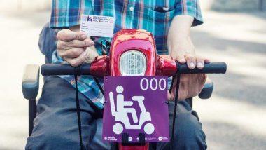 Imagen de la acreditación personal y la placa de la prueba piloto de escúteres al metro y al bus