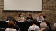 Xavier Chavarria, Mònica Pagès, Àngels Busquets i Xavier Tarraubella a la presentació de l'acte.
