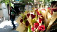 Parada de roses per Sant Jordi.