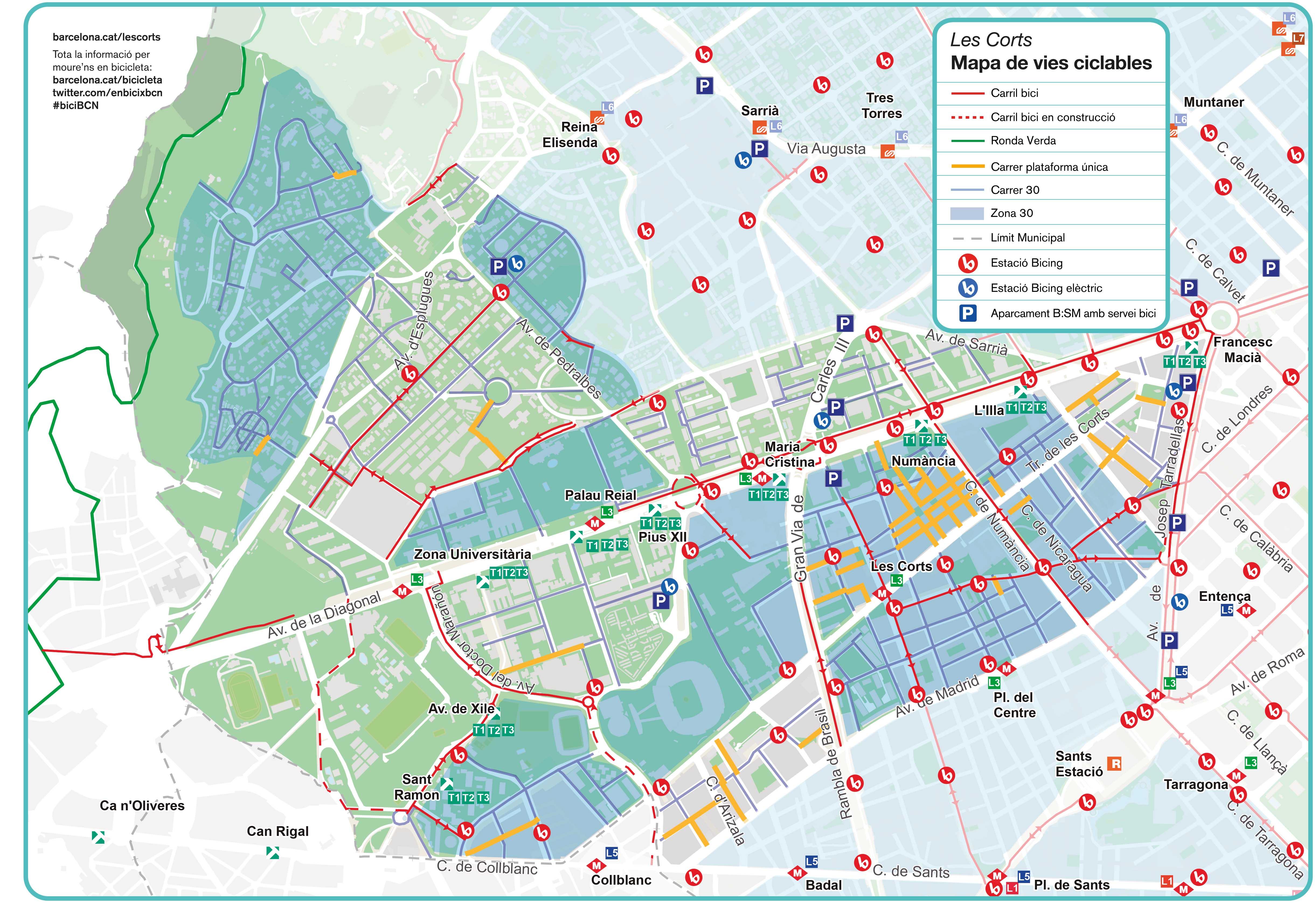 Actualizado El Mapa De Vias Ciclables De Les Corts Les Corts