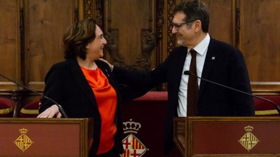 L'alcadessa de Barcelona i l'alcalde de Bolonya.