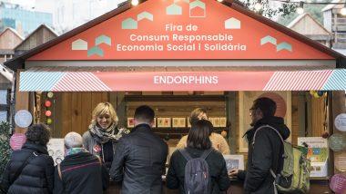 Fira de Consum Responsable a la plaça de Catalunya.