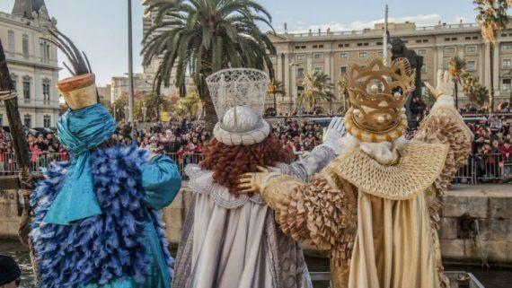Los Reyes Magos en el Moll de la Fusta de Barcelona
