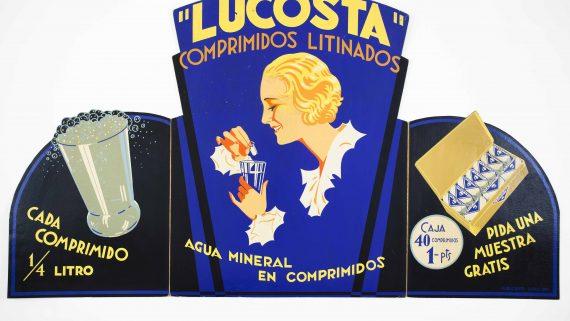 Lucosta. Comprimidos litinados Expositor d'aparador. Cartró c. 1930 Publicolor, Barcelona 71,5 x 126,5 cm Col. Mateu Llinàs i Audet