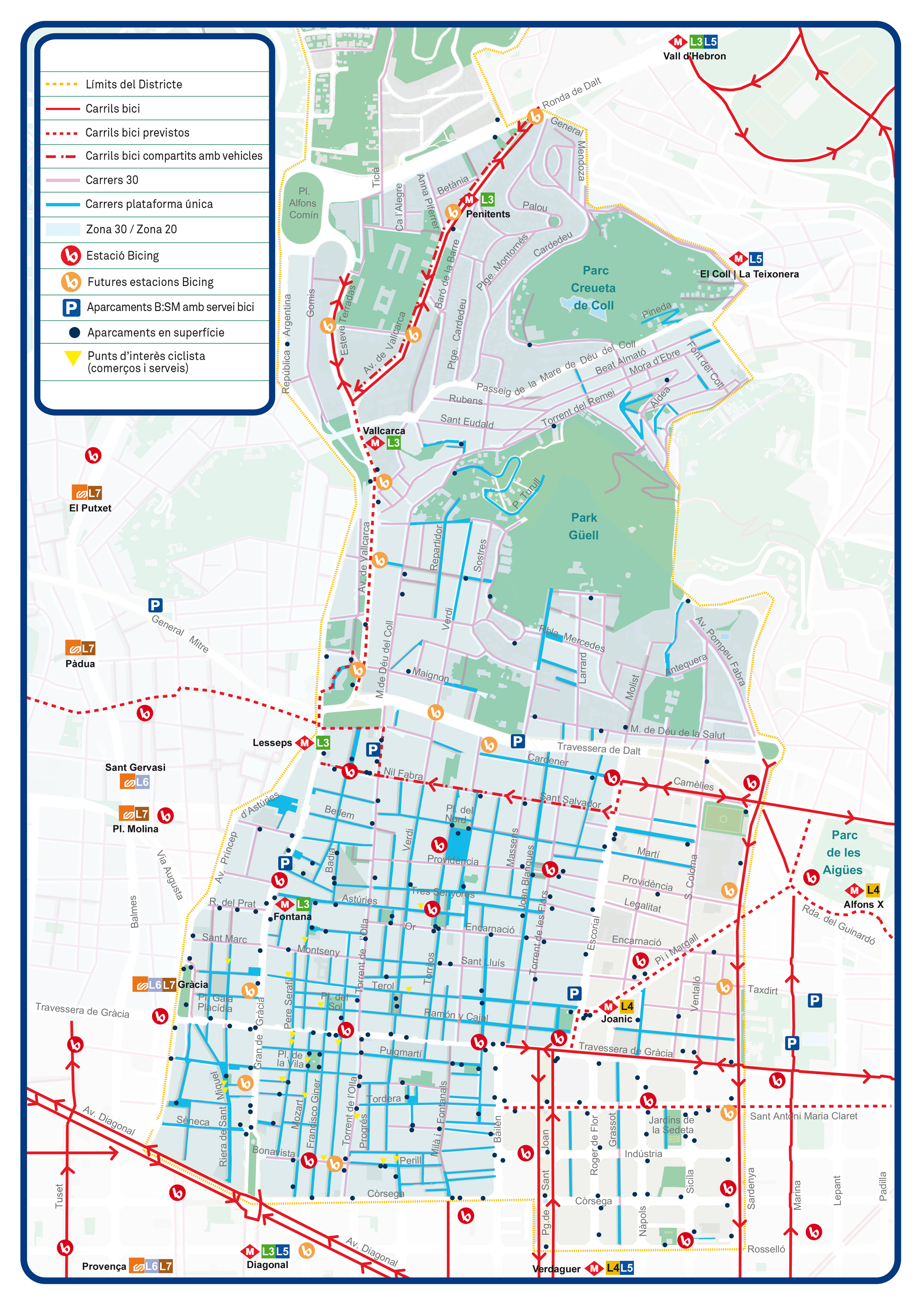 Mapa Carril Bici Barcelona.Mapa De Vias Ciclables De Gracia Bicicleta