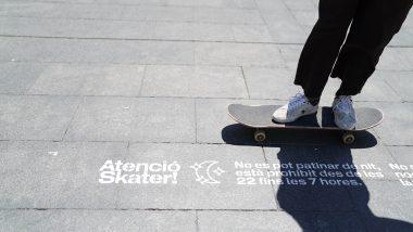 Atenció skater, prohibició skates macba, patinar, skater, patinador, pintada