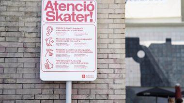 Atenció Skater, avís, prohibició, MACBA, skates