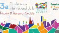 Rectangle on apareix el perfil de la ciutat de Barcelona i pintat amb diversos colors i al centre veiem el títol oficial del congres