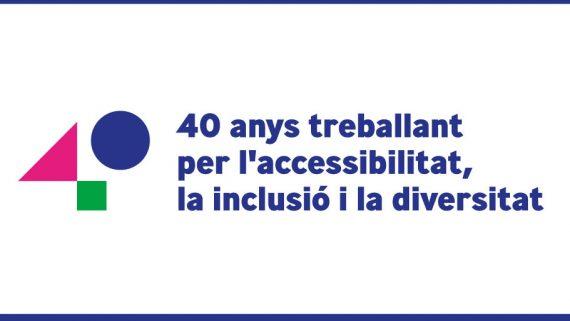 Logotip dels 40 anys de l'Institut Municipal de Persones amb Discapacitat: 40 anys treballant per l'accessibilitat, la inclusió i la diversitat