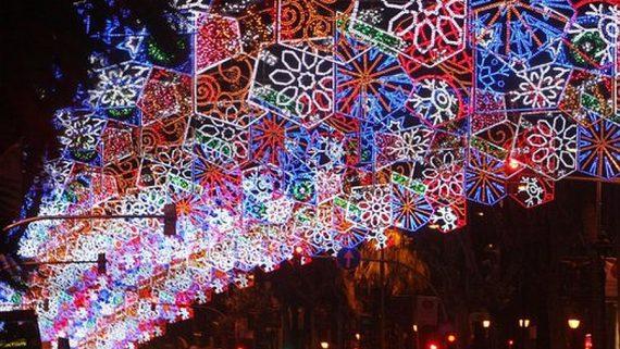 Barcelona. Encesa dels llums del Nadal, Diagonal.