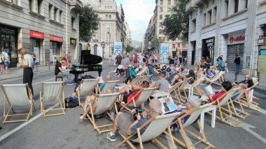 música al carrer, tombones, descansar, via laietana, dia sense cotxes, piano