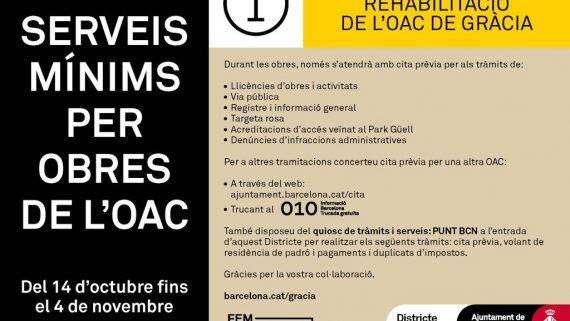 Avís informatiu obres OAC Gràcia