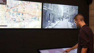 Exposició, interactiu, MUHBA, barcelona flashback, cartografies