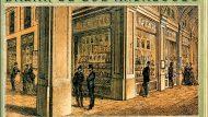 Calendari del 1872 del Bazar de los Andaluces, amb façana a la plaça Reial i al passatge de Madoz.