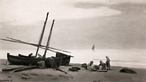 Obra La playa del artista Dionís Baixeras. AFB. F. Serra