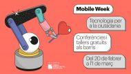 Banner de la Mobile Week 2020 amb un robot que té un cor a la mà