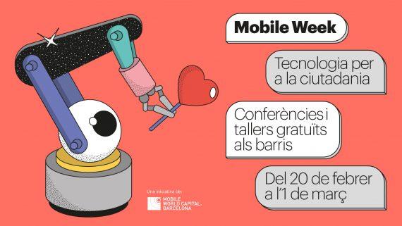 Banner de la Mobile Week 2020 con un robot que sujeta un globo con forma de corazón en la mano