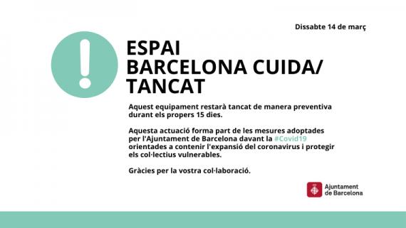 Espacio Barcelona Cuida cerrado