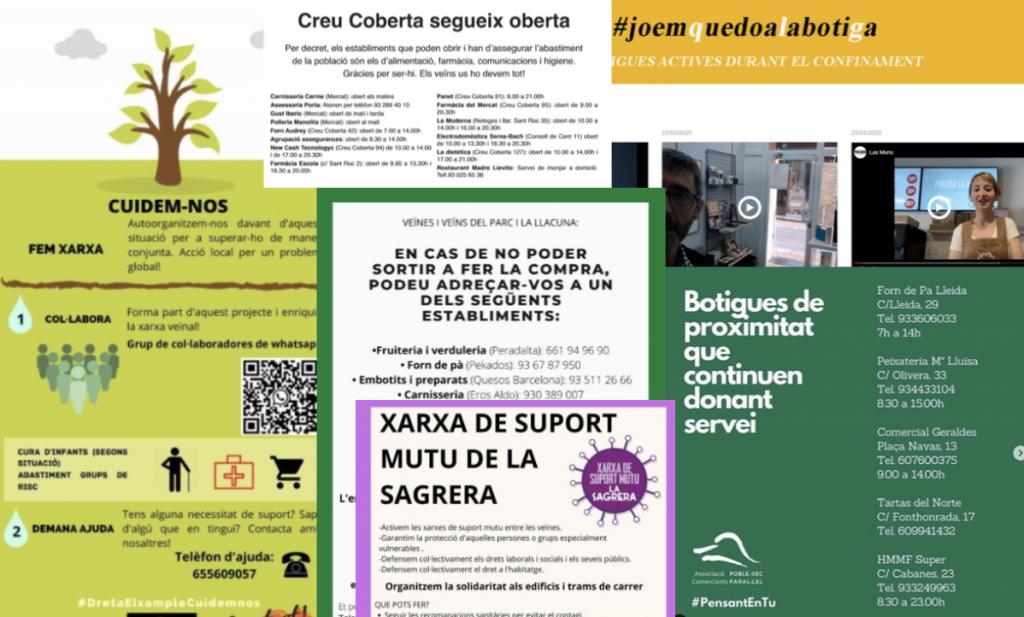 Diversos cartells de les iniciatives solidàries engegades pel teixit comercial arran de la covid-19