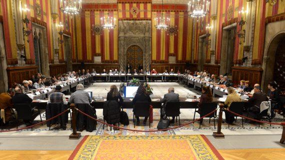 Fotografia de la darrera sessió plenària del Consell Assessor de la Gent Gran realitzada fins el moment, el desembre de 2019 al Saló de Cent de l'Ajuntament de Barcelona.