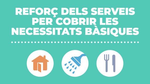 reforç del serveis per cobrir les necessitats bàsiques. Allotjament, higiene i alimentació