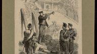 Lecture de la proclamation enjoignant aux habitants d'illuminer [1870]. Rebombori de les Quintes a la ciutat de Barcelona. AHCB04427