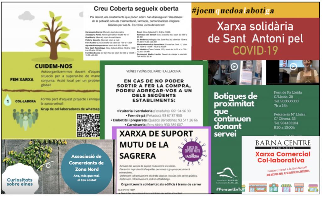 Diversos cartells d'iniciatives solidàries d'associacions de comericants contra la Covid-19