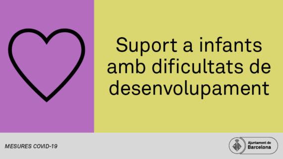 Baner suport a infants amb dificultats de desenvolupament amb pictograma d'un cor