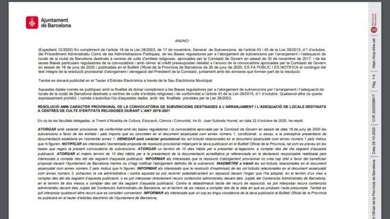 Resolució provisional obres