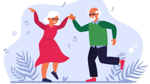 Funny elderly couple dancing flat vector illustration. Cartoon old people having fun together. Lifestyle, party and activity concept