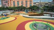 Àrea de joc infantil amb elements accessibles