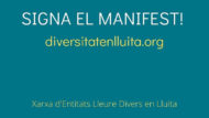 Banner verd i groc que anima a signar el manifest de la Xarxa d'Entitats Lleure Divers en Lluita.