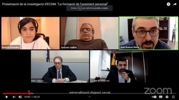 Captura de pantalla de la trobada online per presentar l'estudi d'ECOM. Hi va participar en Joan Ramon Riera, regidor de l'IMPD.