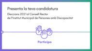 Imatge promocional de presentació de la teva candidatura a les eleccions al Consell Rector de l'Institut Municipal de Persones amb Discapacitat amb el lema participa (amb una icona de 3 mans, una d'elles fent la lletra p en llengua de signes