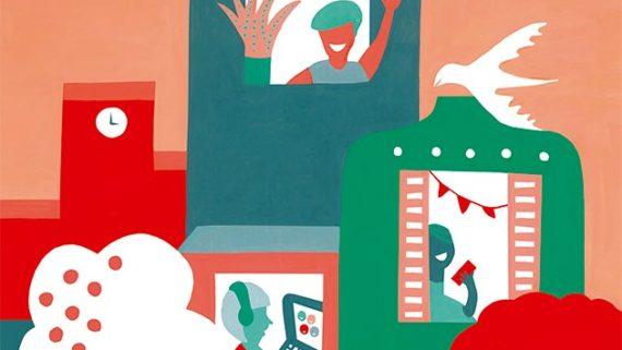 Cartell oficial de l'exposició 'Obrim finestres' del projecte 'Cooperem en la diversitat'.