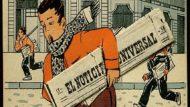 Imatge del Noticiero Universal, con un dibujo de un repartidor