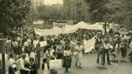 Fotografia manifestación mujeres en Barcelona año 1976