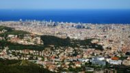 mar, skyline, Barcelona, paisatge