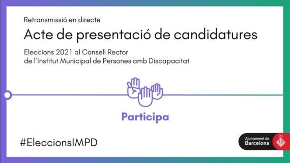 Banner acte de presentació de candidatures amb una mà que fa la lletra