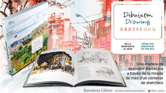 Imatge de la coberta del llibre 'Dibuixem Barcelona', amb dibuixos de la ciutat fets pels urbans sketcher