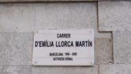 Placa del carrer d'Emília Llorca, canvi de nom, Barceloneta
